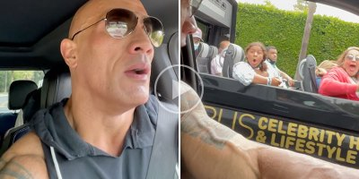 The Rock Pulled Up Beside a Celebrity Bus Tour and It's Priceless